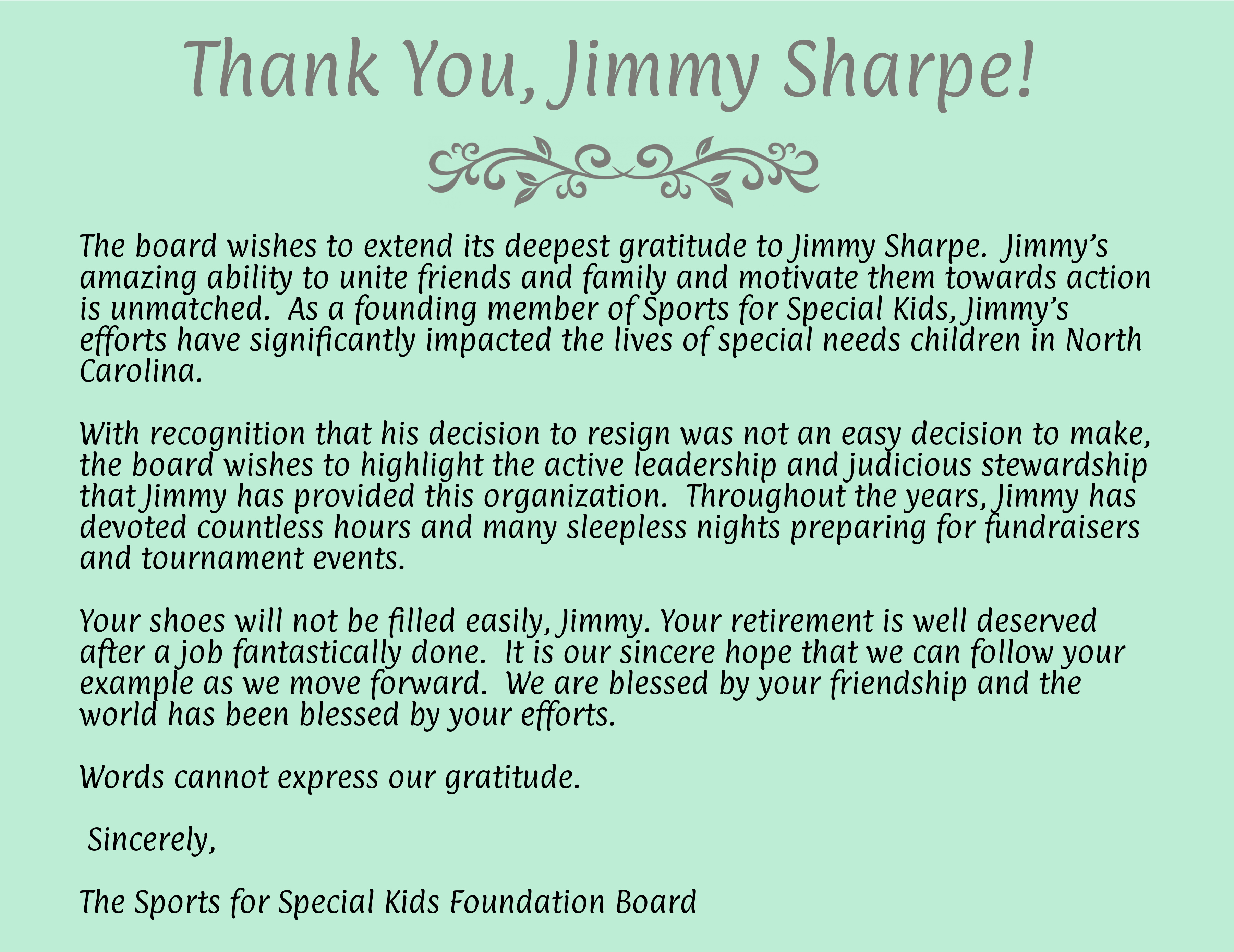 Thank You Note to Jimmy Sharpe